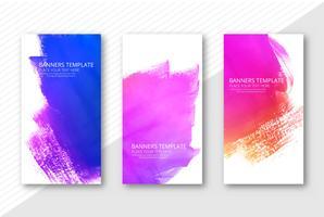 Mooie kleurrijke waterverfbanners geplaatst de vector van het ontwerpmalplaatje