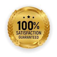 premium kwaliteit gouden medaille badge 100 tevredenheid gegarandeerd teken vector