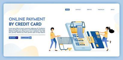 bestemmingspagina illustratie van online betaling per creditcard vector