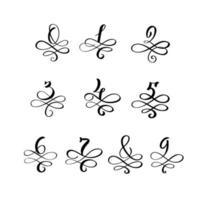 vector hand getekend kalligrafische vintage nummers monogram of logo. handschriftcijfer van nul tot negen met wervelingen en krul. bruiloft bloemdessin