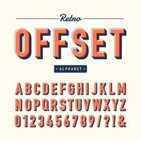Retro offset alfabet vector set