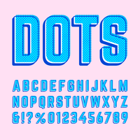 Retro offset stippen alfabet Vector collectie