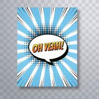 Oh ja van de het pop-artbrochure van het tekst grappige boek kleurrijke de malplaatjevecto