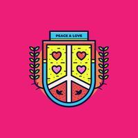 Vrede en liefde Badge Vector
