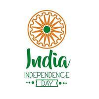 Independece day india feest met ashoka chakra lijn stijlicoon vector