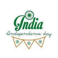 Independece day india feest met ashoka chakra en slingers lijn stijlicoon vector