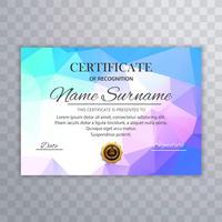 Abstract kleurrijk certificaatsjabloon met veelhoekontwerp