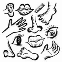 menselijke anatomie pictogram doodles vector