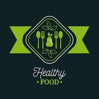premium en gezonde voedselposter met peer en bestek vector