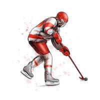 abstracte hockeyspeler uit splash van aquarellen hand getrokken schets wintersport vectorillustratie van verf vector