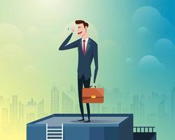 zakenman staande aan de bovenkant van het gebouw met een verrekijker, achtergrond is een grote stad gevuld met wolkenkrabbers vector