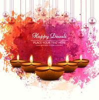 Diwali-festivalontwerp met kleurrijke waterverf