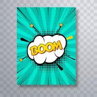 Boom tekst stripboek kleurrijke popart brochure ontwerpsjabloon