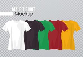 vijf mockup-shirts in kleuren vector