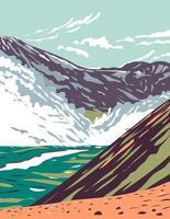 vallei van tienduizend rookt gelegen in Katmai National Park en domein gevuld met asstroom van de uitbarsting van Novarupta in Alaska wpa poster art vector