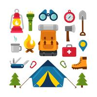 Campingbenodigdheden Knolling vector
