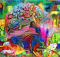 egel abstract impressionistisch portret schilderij vector