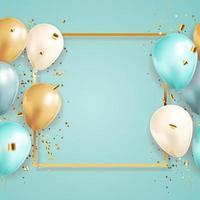 gelukkige verjaardag gefeliciteerd bannerontwerp met confetti en ballonnen voor feestvakantie achtergrond vector