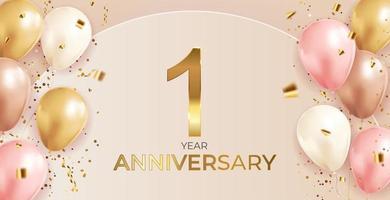 1 verjaardag ontwerp met confetti en ballonnen voor feest vakantie achtergrond vector