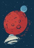 ufo en mars in vintage posterstijl vector