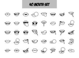 bundel van veertig popart monden lijn stijliconen vector