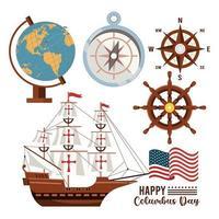 gelukkige columbus-dagviering met zeilboot en vastgestelde pictogrammen vector
