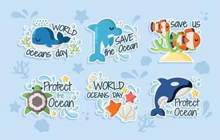 wereld oceaandagen stickers vector