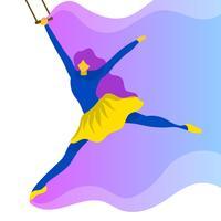 platte vrouw trapeze kunstenaar prestaties vector