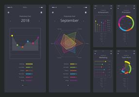 Charts UI Kit mobiele elementenset vector