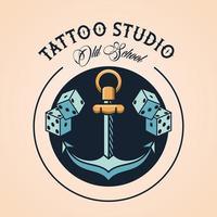 anker en dobbelstenen tattoo studio afbeelding artistiek vector