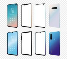 set van mockup smartphones apparaten pictogrammen vector
