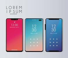 drie mockup smartphones apparaten pictogrammen vector