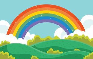 regenboog kleurrijke landschap achtergrond vector