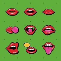 bundel van negen monden en lippen stel pictogrammen op groene achtergrond vector