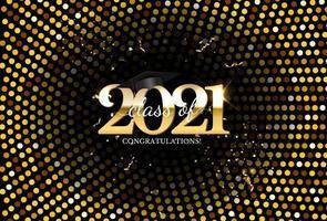 afstudeerklas van 2021 met afstudeerpet en confetti vector