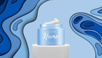 3d-realistische natuurlijke schoonheid cosmetisch product voor gezichts- of lichaamsverzorging op glanzende achtergrond vector