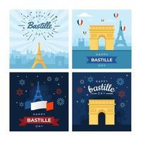 set bastille-dagkaarten vector
