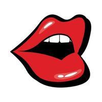 pop-art mond open vulstijl vector