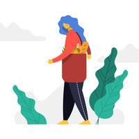 Vlakke vrouw winkelen bij supermarkt vectorillustratie