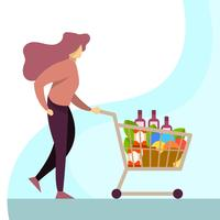 Vlakke Vrouw die bij Kruidenierswinkelopslag met de Vectorillustratie van het Karretje winkelen