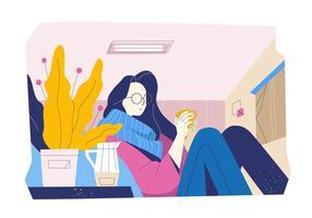 Me Time In Cozy met koffie in woonkamer Vector vlakke afbeelding