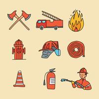 brandweerman doodled pictogrammen vector