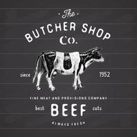 slagerij vintage embleem rundvlees vleesproducten, slagerij logo sjabloon retro stijl. vintage ontwerp voor logo, label, badge en merkontwerp. vectorillustratie op schoolbord vector