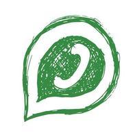 groene telefoontoestel in tekstballon hand getrokken pictogram, vectorillustratie geïsoleerd op een witte achtergrond. vector