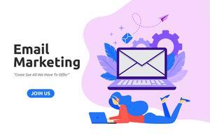 Modern, plat ontwerp voor e-mailmarketing. Vector illustratie