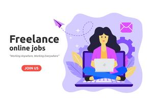 Freelance online baanontwerp concept. Freelancer ontwikkelt zaken vector