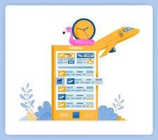 schema voor het kopen van vliegtickets met reisbureau-apps. kan worden gebruikt voor landingspagina's, websites, posters, mobiele apps vector