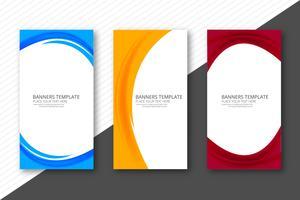 Abstracte kleurrijke elegante golfbanners geplaatst ontwerpsjabloon
