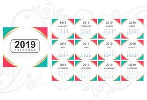 Kalender 2019 Sjabloon met golf achtergrond vector