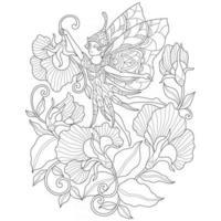 fee en bloemen hand getekend voor volwassen kleurboek vector